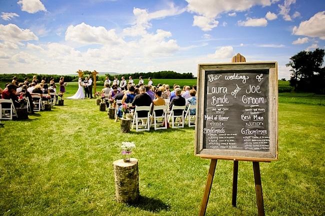 outdoor-wedding-ceremony-vintage-sign-theme